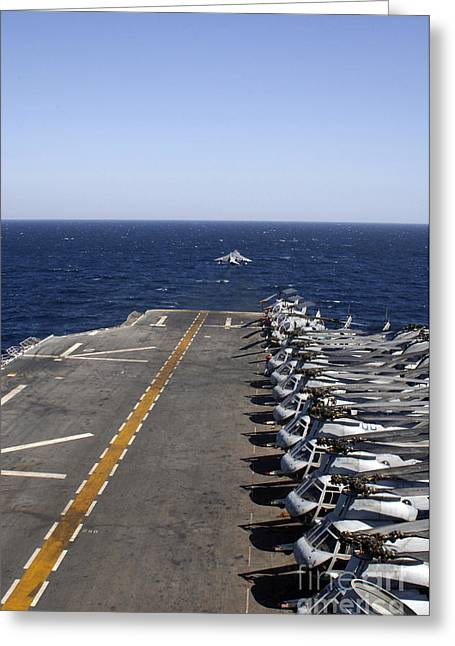 Ch-46 Greeting Cards - An Av-8b Takes Off From The Flight Deck Greeting Card by Stocktrek Images