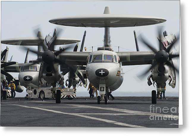 Taxiing Greeting Cards - An E-2c Hawkeye Aircraft On The Flight Greeting Card by Stocktrek Images