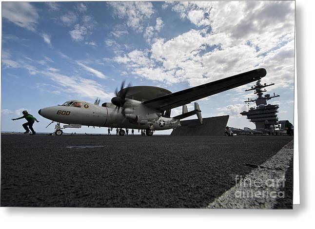 An E-2c Hawkeye Aircraft Prepares Greeting Card by Stocktrek Images