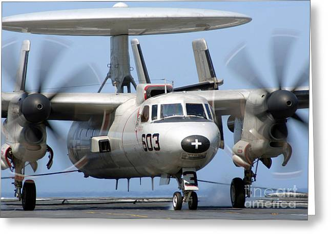 Military Airplanes Greeting Cards - An E-2c Hawkeye Conducts An Arrested Greeting Card by Stocktrek Images
