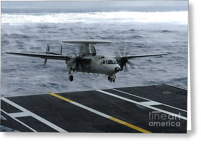 Dwight D. Eisenhower Greeting Cards - An E-2c Hawkeye Lands Aboard Greeting Card by Stocktrek Images
