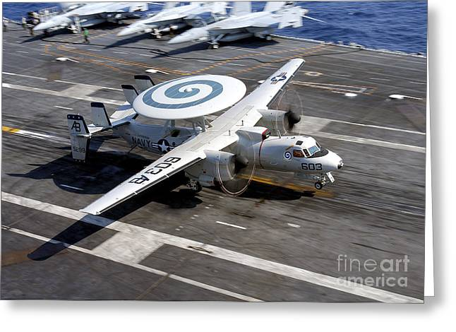 Flight Deck Greeting Cards - An E-2c Hawkeye Lands On The Flight Greeting Card by Stocktrek Images