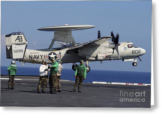 Enterprise Greeting Cards - An  E-2c Hawkeye Launches From Aboard Greeting Card by Stocktrek Images