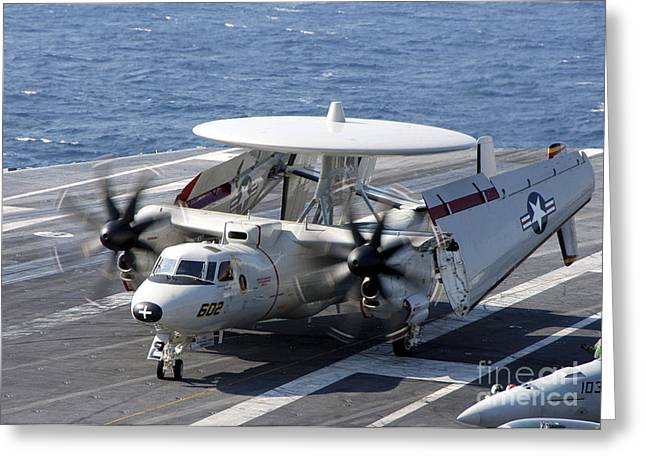 Taxiing Greeting Cards - An E-2c Hawkeye Taxiing On The Flight Greeting Card by Stocktrek Images