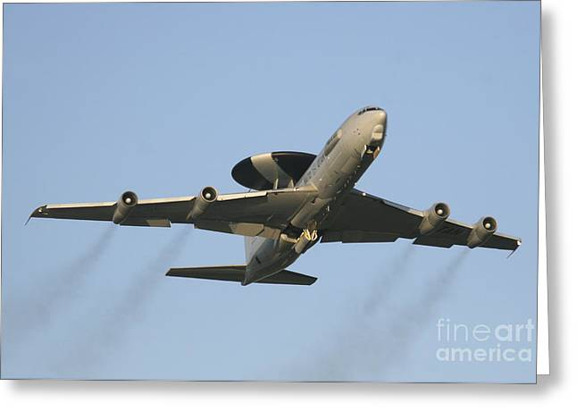 Nato Greeting Cards - An E-3 Sentry Taking Off From The Nato Greeting Card by Timm Ziegenthaler