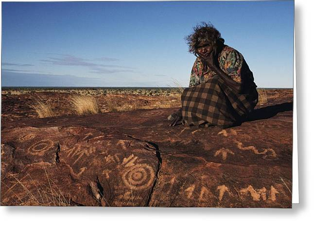 Businesspeople Greeting Cards - An Eastern Arrernte Woman Ponders Greeting Card by Medford Taylor