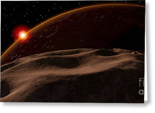 Phobos Greeting Cards - An Eclipse Of The Sun By Mars As Seen Greeting Card by Ron Miller