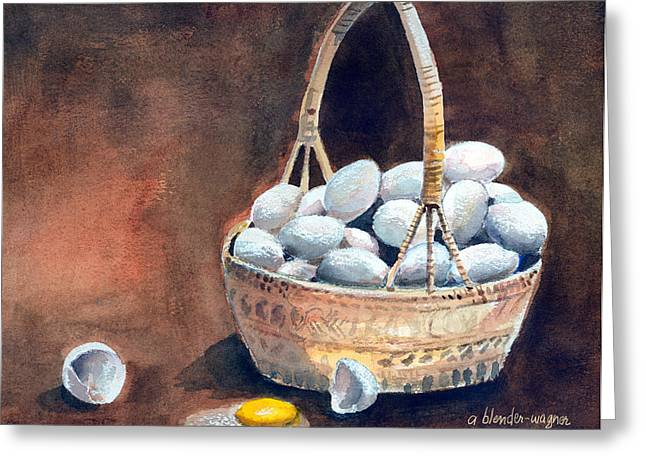 Eggs Mixed Media Greeting Cards - An Egg Mishap Greeting Card by Arline Wagner
