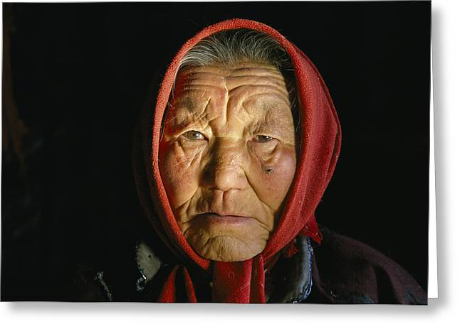 Chinese Minority Greeting Cards - An Elderly Kazakh Woman In Western Greeting Card by David Edwards