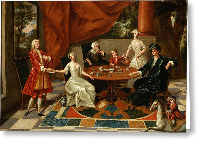 18th Century Greeting Cards - An Elegant Family Taking Tea  Greeting Card by Gavin Hamilton