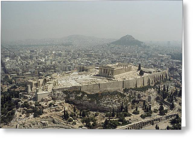 Characters And Scenes In History And The Arts Greeting Cards - An Elevated View Of The Parthenon Greeting Card by James P. Blair