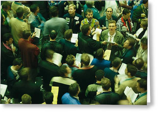 Chicago Board Of Trade Greeting Cards - An Elevated View Of Traders Greeting Card by Michael S. Lewis