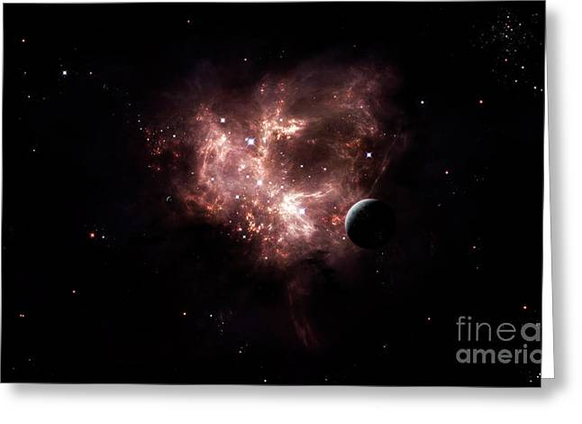An Emission Nebula Is Viewed From Neaby Greeting Card by Brian Christensen