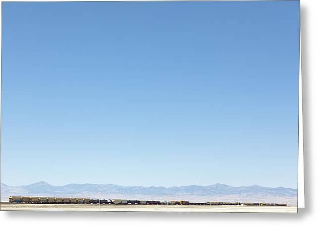 Freight Transportation Greeting Cards - An Empty Desert Bonneville Salt Flats Greeting Card by Dan Kaufman