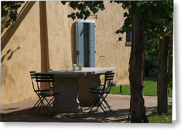 Montepulciano Greeting Cards - An Empty Table Awaits Residents Greeting Card by Heather Perry