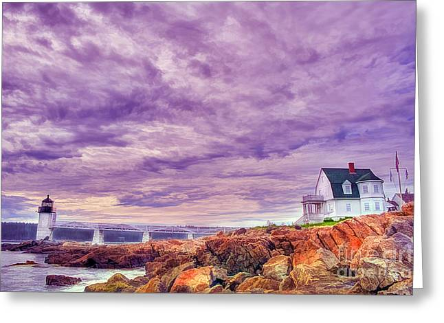 Maine Spring Greeting Cards - An Evening in Maine Greeting Card by Darren Fisher