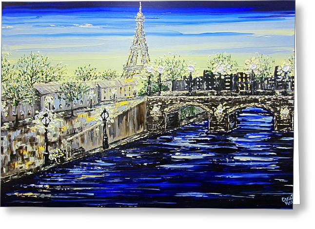 Artist Christine Krainock Greeting Cards - An Evening in Paris Greeting Card by Christine Krainock