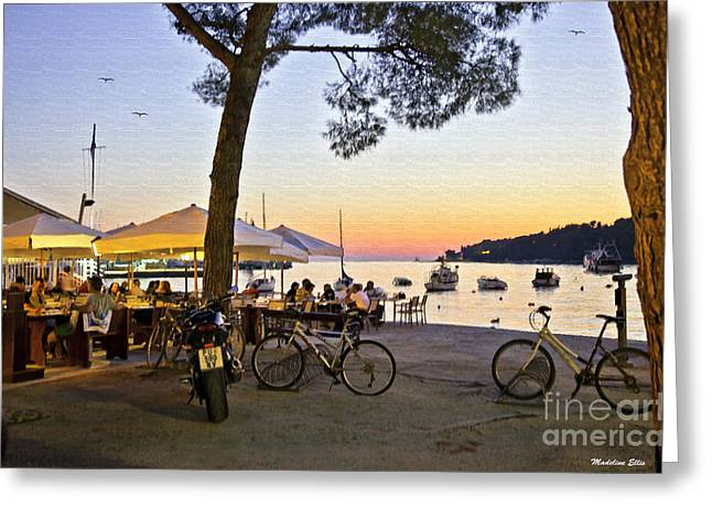 Motor Scooters Greeting Cards - An Evening in Rovinj - Croatia Greeting Card by Madeline Ellis