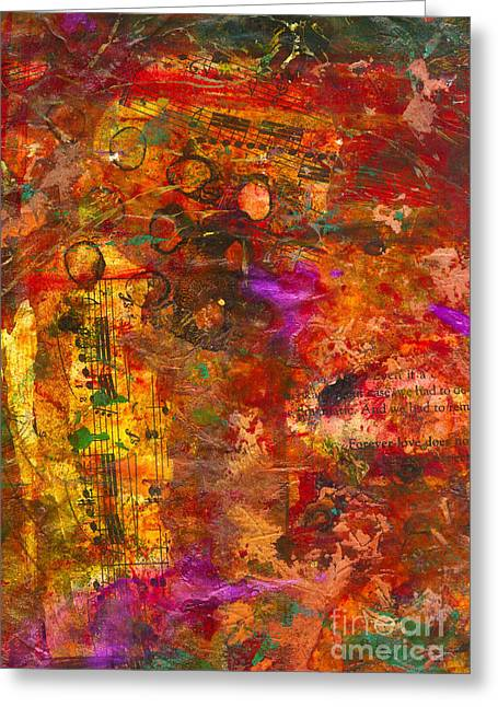 Wine Reflection Mixed Media Greeting Cards - An Evening of Musical Notes and Lots of Bubbly Greeting Card by Angela L Walker