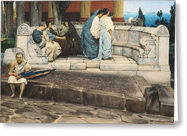 An Exedra Greeting Card by Sir Lawrence Alma-Tadema