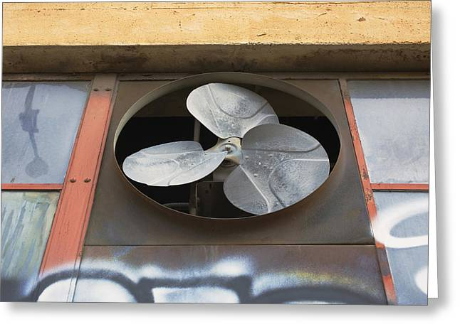 Electric Fan Greeting Cards - An Exhaust Fan At A Ventilation Outlet Greeting Card by Nathan Griffith