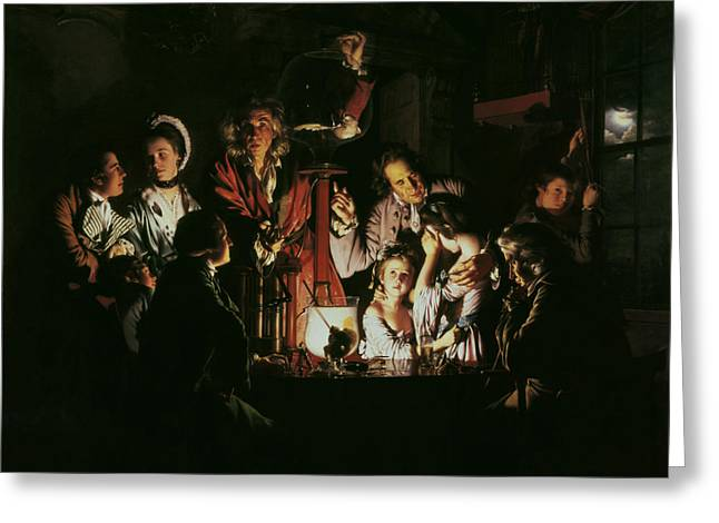 Experiment Greeting Cards - An Experiment on a Bird in the Air Pump Greeting Card by Joseph Wright of Derby