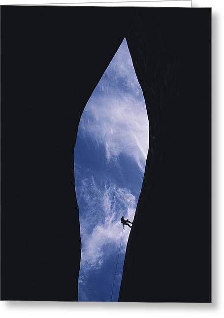 Light And Dark Greeting Cards - An Expert Canyoneer Rappells Greeting Card by Bill Hatcher