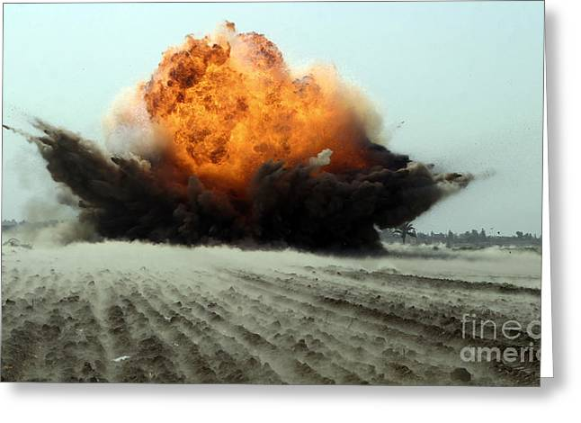 Detonation Greeting Cards - An Explosion Erupts From The Detonation Greeting Card by Stocktrek Images