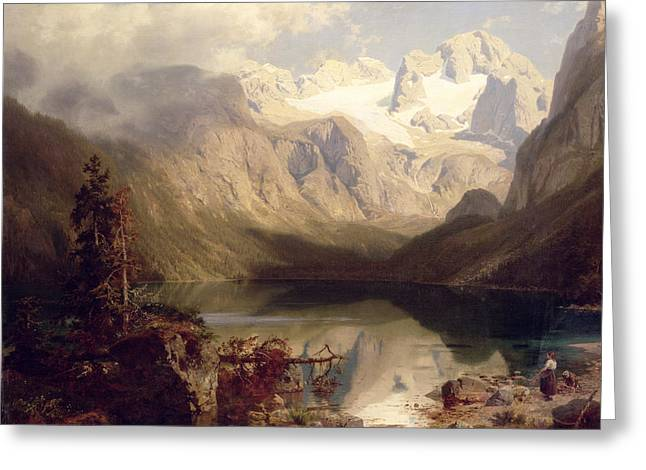Augustus Greeting Cards - An Extensive Alpine Lake Landscape Greeting Card by Augustus Wilhelm Leu