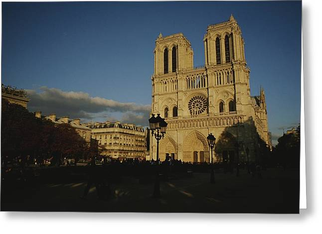 Art Of Building Greeting Cards - An Exterior View Of Notre Dame Greeting Card by Raul Touzon