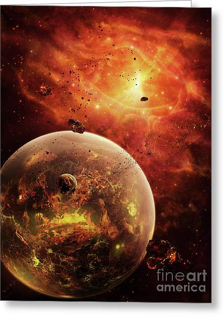 Starforming Greeting Cards - An Eye-shaped Nebula And Ring Greeting Card by Brian Christensen