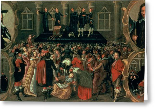 Monarchy Greeting Cards - An Eyewitness Representation of the Execution of King Charles I Greeting Card by John Weesop