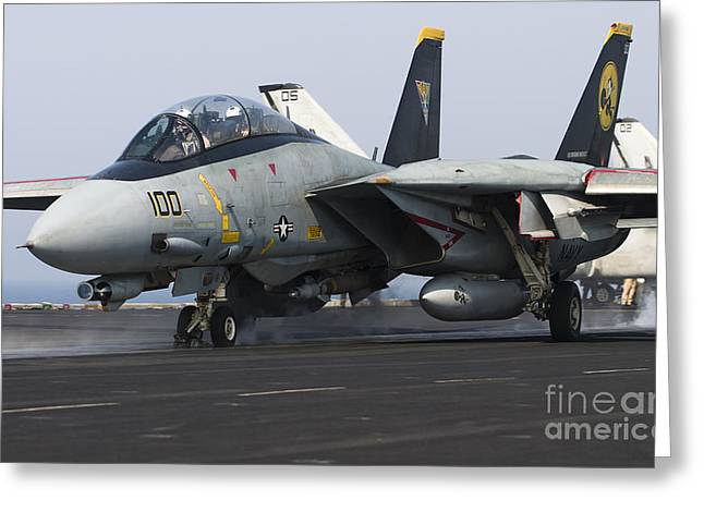 Grumman Greeting Cards - An F-14d Tomcat Launches Off The Flight Greeting Card by Gert Kromhout