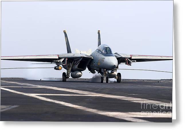 Grumman Greeting Cards - An F-14d Tomcat Makes An Arrested Greeting Card by Gert Kromhout