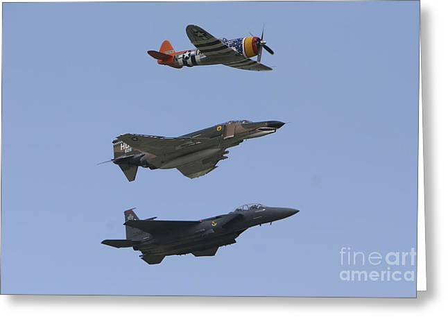 Cooperation Greeting Cards - An F-15 Eagle, P-47 Thunderbolt Greeting Card by Terry Moore