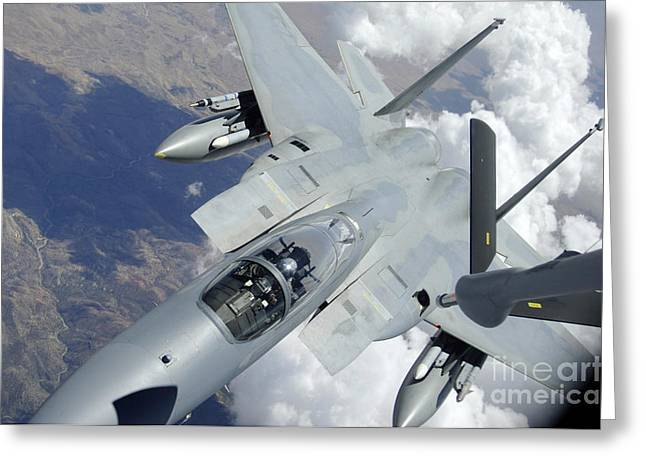 An F-15 Eagle Pulls Away From A Kc-135 Greeting Card by Stocktrek Images