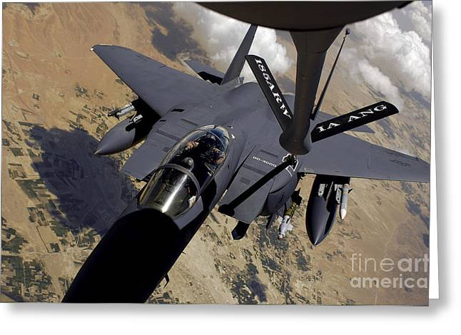Refueling Greeting Cards - An F-15 Strike Eagle Prepares Greeting Card by Stocktrek Images