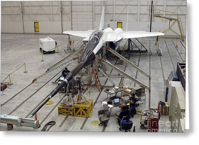 Maintenance Facility Greeting Cards - An F-15b Testbed Aircraft Undergoes Greeting Card by Stocktrek Images