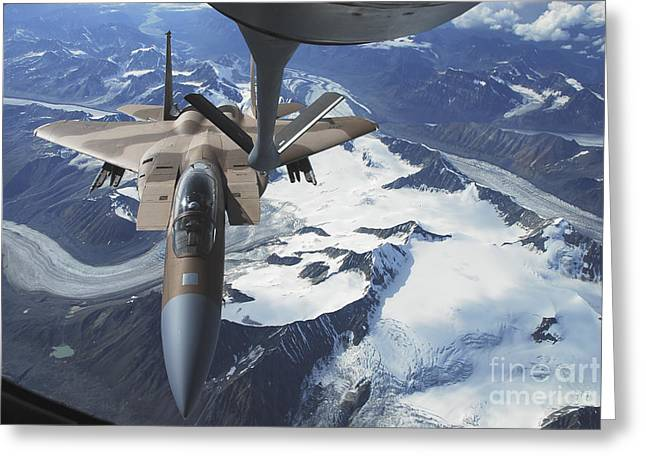 Aggressor Greeting Cards - An F-15c Eagle Aircraft Sits Greeting Card by Stocktrek Images