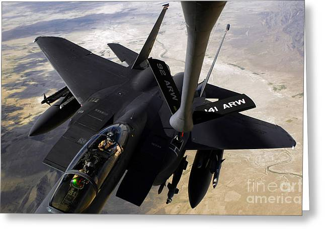 Mechanism Photographs Greeting Cards - An F-15e Strike Eagle Aircraft Receives Greeting Card by Stocktrek Images