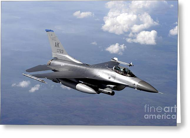 Red Falcon Greeting Cards - An F-16 Fighting Falcon Prepares Greeting Card by Stocktrek Images