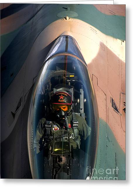 Aggressor Greeting Cards - An F-16 Fighting Falcon Greeting Card by Stocktrek Images
