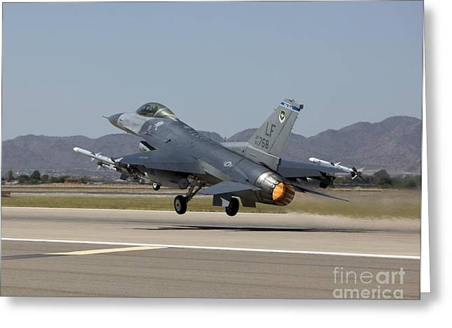 Military Base Greeting Cards - An F-16 Fighting Falcon Takes Greeting Card by HIGH-G Productions