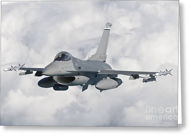 Mile One Greeting Cards - An F-16 From The Colorado Air National Greeting Card by Giovanni Colla