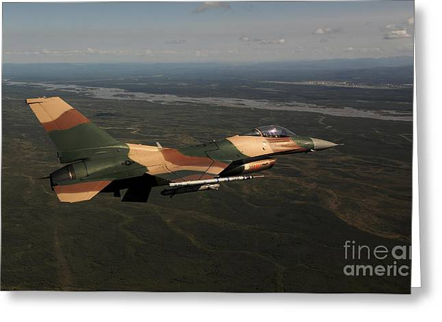 Aggressor Greeting Cards - An F-16c Aggressor Aircraft Greeting Card by Stocktrek Images