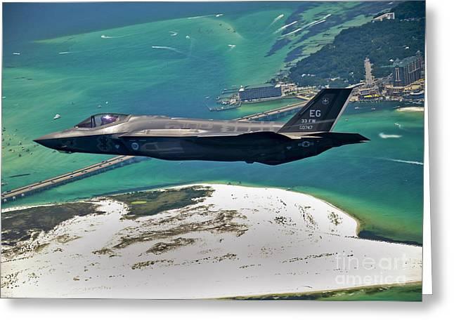 An F-35 Lightning Ii Flies Over Destin Greeting Card by Stocktrek Images