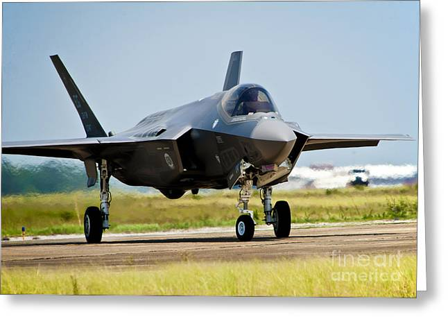 Taxiing Greeting Cards - An F-35 Lightning Ii Taxiing At Eglin Greeting Card by Stocktrek Images