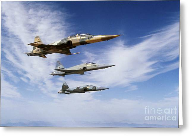 Cooperation Greeting Cards - An F-5f Tiger Ii Leads Two F-5es Greeting Card by Dave Baranek