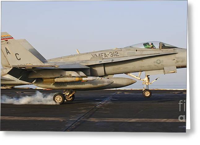 F-18 Greeting Cards - An Fa-18 Hornet Lands Aboard Uss Harry Greeting Card by Giovanni Colla