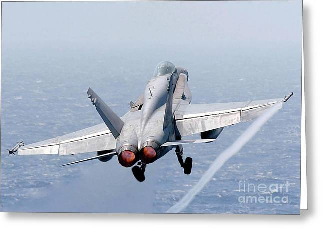 F-18 Greeting Cards - An Fa-18 Hornet Taking Off Greeting Card by Stocktrek Images